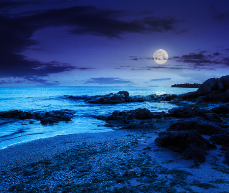 calm sea with some wave attacks the sandy beach with boulders and seaweed and break on them at night in moon light