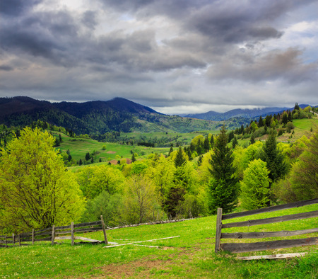 summer landscape. fence near the meadow path on the hillside. forest in fog on the mountain on dull day Stock Photo