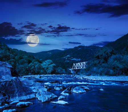 mountain river with stones in the forest near the metal bridge at night in moon light