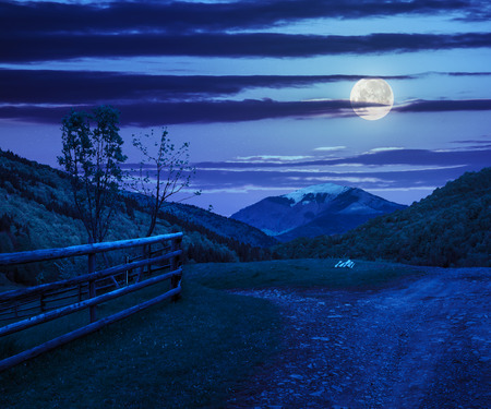 unreal summer landscape. fence near the meadow crossroad path on the hillside composit with forest on the mountain at night in moon light