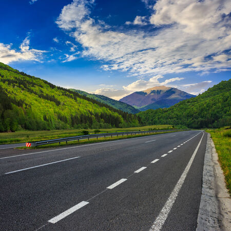 stright asphalt road in mountains passes through the green shaded forest