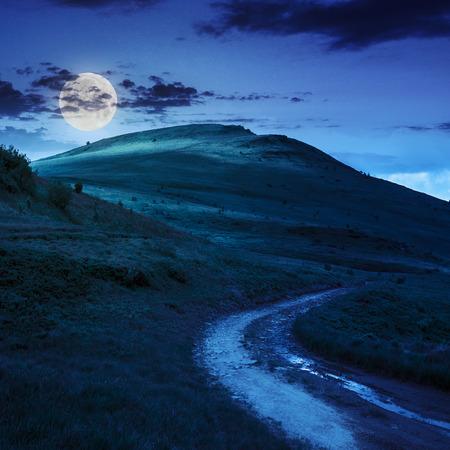 夏の風景。フィールドを介して山道が月の光で夜の空に上り回す