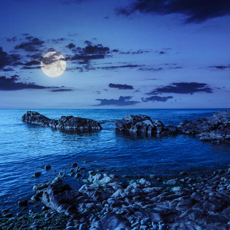 calm sea wave wash the boulders and brings seaweed at night in moon light