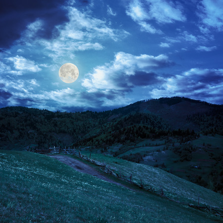 summer landscape. fence near the meadow path to village on the hillside. forest with lumber on the mountain at night in full moon light