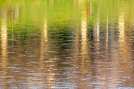 nature abstract background. reflection of autumn trees on the embankment  in the rippled water of the river surface