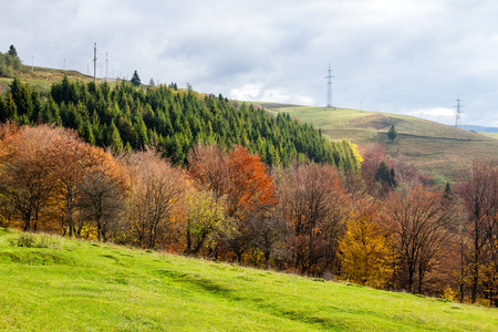 mountain autumn landscape. Electric pillars on the top of the mountain near the autumnal forest Stock Photo