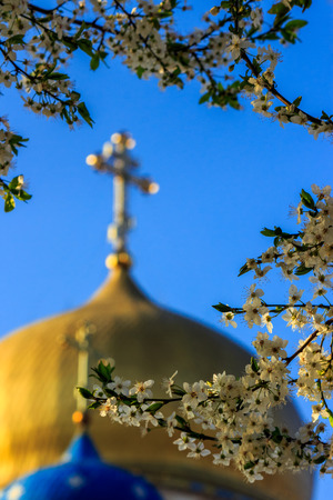 apple flowers on blurred background of the two domes of the Orthodox Church