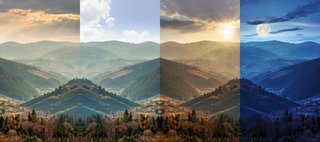 slope of mountain range with coniferous forest and village in autumn. day and night collage photo