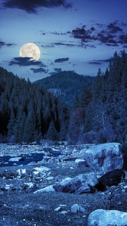 mountain river with stones and moss in the forest near the mountain slope at night in full moon light