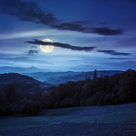 fool moon: autumn landscape. village on the hillside behind forest on the mountainl at night in fool moon lighy Stock Photo