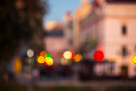 old european city night street defocused blurred abstract image