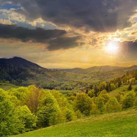 slope of mountain range with coniferous forest and village at sunset photo