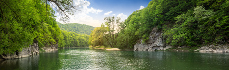 flowing river: mountain river with stones on the shore in the forest near the mountain slope
