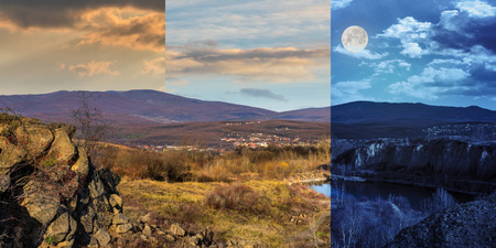 day and night collage of small lake in an abandoned stone quarry in the mountains outside the city with full moon Stock Photo