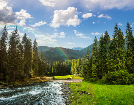 collage landscape with pine trees in mountains and a river in front flowing to lake with rainbow