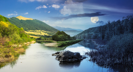 composit: day and night collage mountain river with stones and grass in the forest near the mountain slope