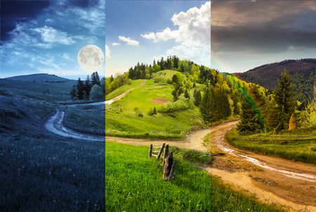 nature backgrounds: day and night composite autumn landscape. fence near the cross road on hillside meadow in mountains. few fir trees of forest  on both sides of the road