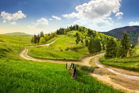 route: composite paysage d'automne. cl�ture pr�s de la route � flanc de colline croix prairie dans les montagnes. quelques sapins de la for�t des deux c�t�s de la route