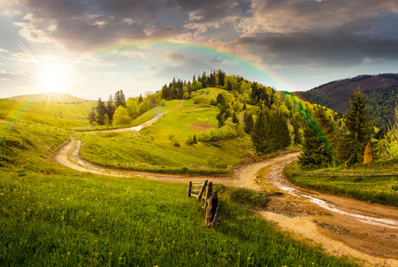 rainbow sky: composite autumn landscape. fence near the cross road on hillside meadow in mountains. few fir trees of forest  on both sides of the road in sunset light with rainbow