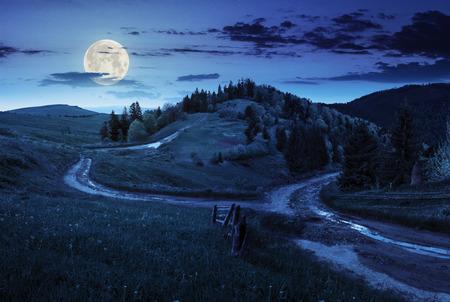 複合の秋の風景です。山の中腹草原の交差道路の近くのフェンス。満月の光で夜の道路の両側の森のいくつかのモミの木