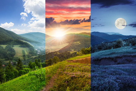 昼と夜複合山の風景。霧山の森林の村近くの丘の中腹に牧草地に花