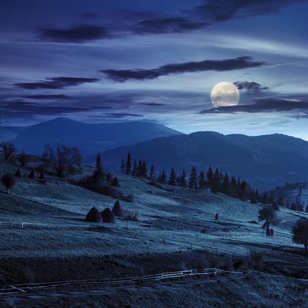 満月の光で夜の山の緑の草原の干し草の山近くにパスとたい肥風景