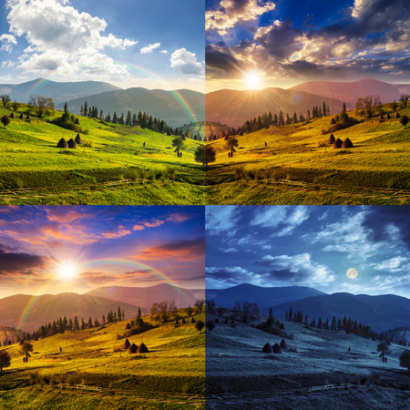day and night collage of composte landscape with path near haystack  on a green meadow in the mountains Archivio Fotografico