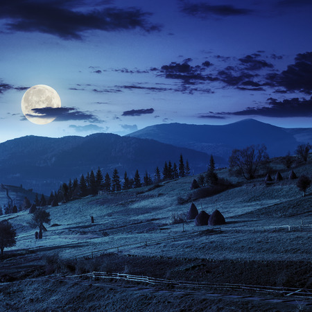 composte landscape with path near haystack  on a green meadow in the mountains at night in full moon light