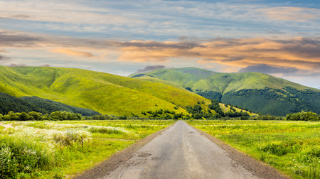 composite landscape with abandoned asphalt road rolls through meadows with flowers going to high  mountains in morning light