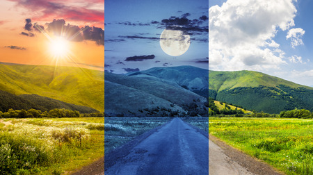 day and night collage of composite landscape with abandoned asphalt road rolls through meadows with flowers going to high  mountains