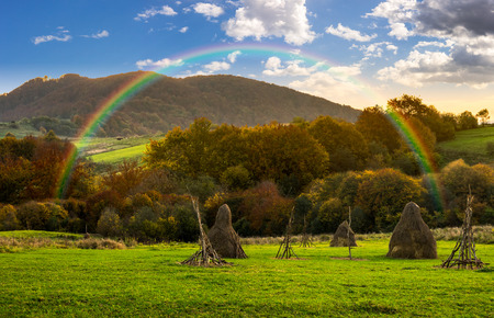 composite agriculture landscape with stack of hay on a green meadow near forest near the foot of the mountain in morning light with rainbow
