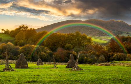 composite agriculture landscape with stack of hay on a green meadow near forest near the foot of the mountain with rainbow