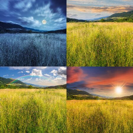 day and night collage of composite mountain summer landscape. Meadow with wild flowers in mountains photo