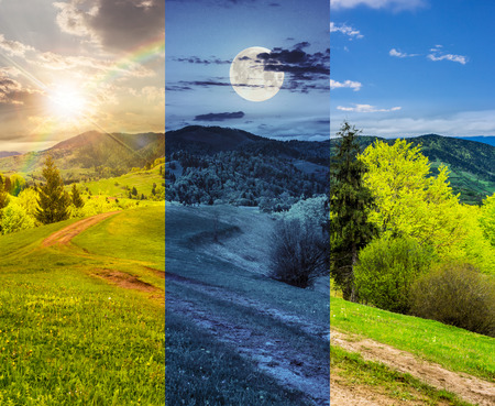 day and night collage of composite mountain landscape with  road on hillside meadow few fir trees and forest  on both sides of the road photo