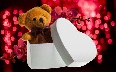 brown toy bear in white heart box with red orchid flower on blur background