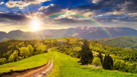 Composite paysage de montagne. pins par la route à travers prairie à flanc de colline dans lumière du soleil couchant avec arc en ciel Banque d'images - 36360099