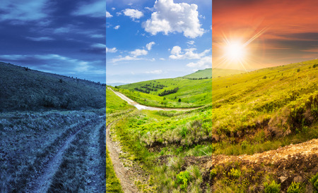 day and night collage of composite highland landscape. with pine forest far away near the road through hillside meadow Stok Fotoğraf