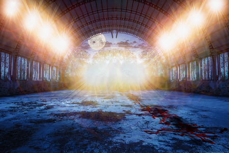 fool moon: zombie dance place in abandoned ruined hangar with and blood on the floor and lots of lights in the green forest at night with fool moon