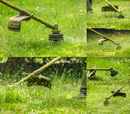 collage image of closeup shot of gasoline trimmer head with nylon line cutting fresh green grass to small pieces