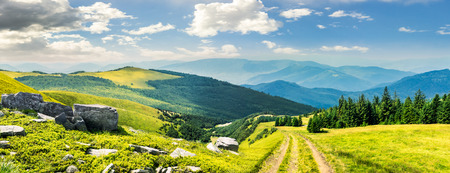 hill range: composite mountain landscape. path through meadow on mountain range with huge boulders near pine forest on hill side in morning light