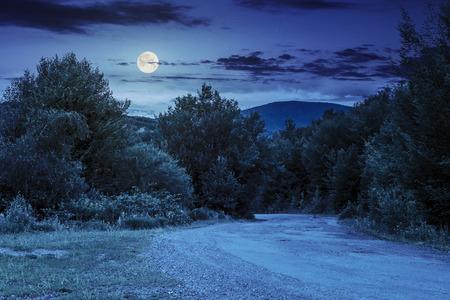 completo: carretera de asfalto que entra en montañas y pasa a través del bosque verde en la sombra de las nubes en la noche a la luz de la luna llena Foto de archivo