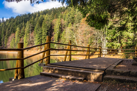 pier on the Lake in mountain near coniferous forest Stock Photo - 42152539