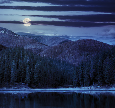 forest park: lake near the pine forest in orange autumn mountains at night in full moon light Stock Photo