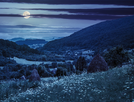 haystack  on a green agricultural meadow in the mountains at night in full moon light