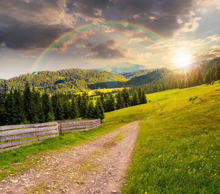 composite landscape with fence under the rainbow near the path through meadow up the hillside to coniferous forest  on the mountain at sunset