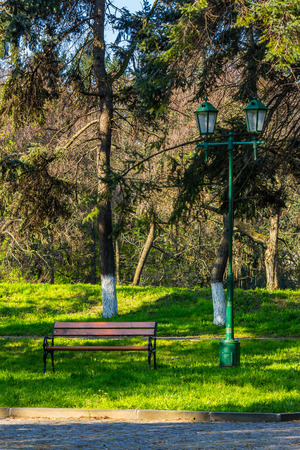 area of ​​the old city park with lantern near bench under the conifer tree Stock Photo