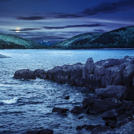 composite image of summer landscape  on lake with rocky shore and some boulders near forest in mountain  with high peak far away at night in full moon light