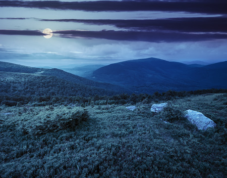 meadow  with white boulders on the slope of mountain range at night in full moon light Stock Photo