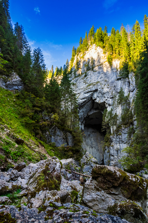 Cetatile cave in romania. Natural citadel sculpted by river in romanian mountains Stock Photo
