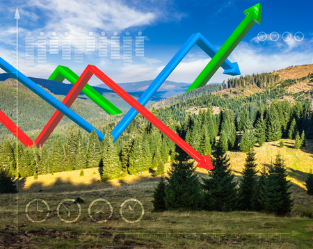 concept message to save environment. 3D graphs over mountain landscape with conifer forest